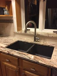 Almond Kitchen Faucet by Sienna Bordeaux Granite Almond Subway Tile With Icy Red Mini