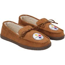 Rugged Slippers Pittsburgh Steelers Moccasin Slipper Tan Nflshop Com