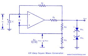 square wave generator using op amp electronic circuits and