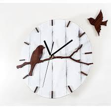 Birds Home Decor Retro Wood Wall Clock Pastoral Lovely Birds Home Decor Creative