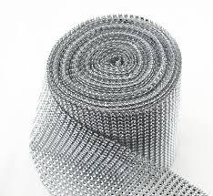 diamond mesh ribbon silver diamond cut mesh roll rhinestone metallic ribbon mesh