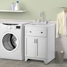 washing machine with sink utility sink with cabinet white light blue wall kitchen with