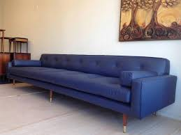 danish mid century modern blue large leather sofa couch eames