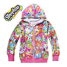 amazon com shopkins long sleeve front zip hoodie jacket coat
