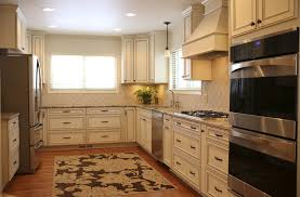 Old Kitchen Decorating Ideas White Wood Range Hood With Recessed Lighting And Square Rug For