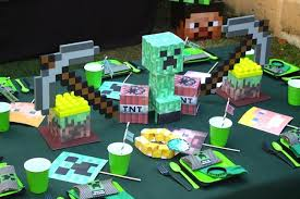 minecraft party decorations top notch minecraft themed boy s birthday party spaceships and