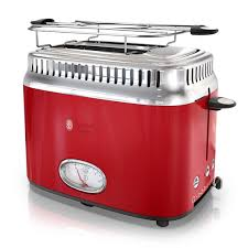 Stainless Toaster 2 Slice Retro Style 2 Slice Toaster Red U0026 Stainless Steel Russell Hobbs