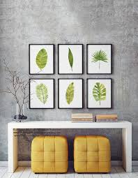 green wall decor palm leaf watercolor painting set 6 different palm tree leaves
