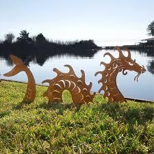 Kinetic Garden Art Sea Serpent Garden Sculpture Garden Stake Monster Sculpture