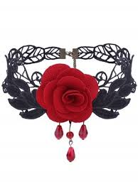 red flower necklace images Red gothic knitted leaf flower choker necklace jpg
