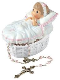 precious moments baby baptism covered box rosary kids