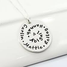 Personalized Hand Stamped Jewelry Buy A Handmade Personalized Grandmother Necklace Spiral Hand