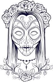 adult coloring pages sugar skull girl coloringstar