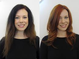 before u0026 after client style long to short haircuts copper colour the