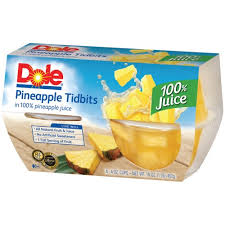 dole fruit bowls fruit bowls pineapple tidbits in 100 juice 4 oz 4 pk plastic cups