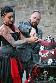 Red And Black Wedding Caz And Grant U0027s Red U0026 Black Wedding With Tim Burton Inspired Cake