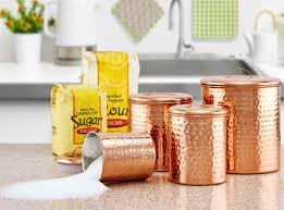 Decorative Canister Sets Kitchen Old Dutch Hammered 4 Piece Kitchen Canister Set U0026 Reviews Wayfair