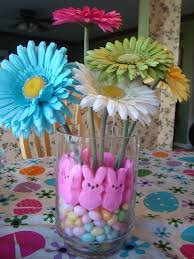 Easter Decorations With Peeps by The Easter Centerpiece I Made With Peeps Jelly Beans And Flowers