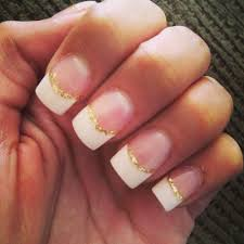 acrylic french tips with gold lining for prom tomorrow yelp