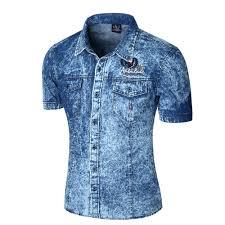 2017 new brand men shirt short sleeve denim shirt mens casual