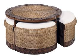 wicker sands round coffee table glass thippo