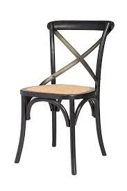 Cross Back Bistro Chair Cross Back Chair W Natural Brown Rattan Seat Black 2 Box