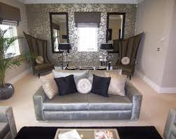 alluring silver wallpaper with black carpet for contemporary