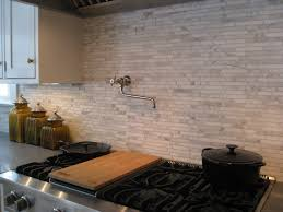 Limestone Backsplash Kitchen by Black And Blue Kitchen Cabinets With Brick Backsplash Saveemail