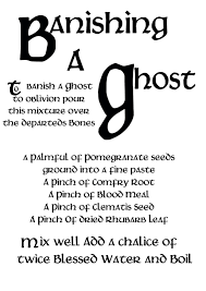 book of shadows pages banishing a ghost