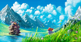studio ghibli howls moving castle mountain wallpapers hd