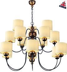 15 Light Chandelier David Hunt Garbo Large 15 Light Bronze Chandelier Cream Shades Gar1515