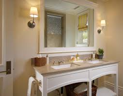 bathroom mirror ideas on wall rectangular white stained wooden