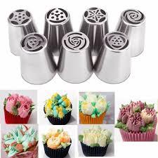 douille de cuisine 7pcs inox douilles pâtisserie fleur gâteau décor embout nozzle buse