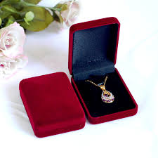 necklace pendant gift box images High quality 12pcs dark red color square velvet box for pendant jpg