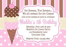 Birthday Invitation Card Sample Wording Printable Birthday Invitations Girls Ice Cream Party