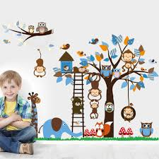 monkey giraffe owl bird tree wall stickers decal home art baby monkey giraffe owl bird tree wall stickers decal home art baby kids nursery vinyl bedroom stickers