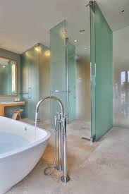 bathroom exciting doorless shower with rain shower and white frosted doorless shower with ceiling lights and soaking