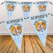 Pretty Bunting Flags Personalised Blue Boy Baby Shower Flag Photo Bunting Banner N33