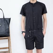 mens one jumpsuit summer s stand collar sleeve shirt slim jumpsuit one