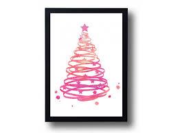 Holiday Decor Catalogs Tree Watercolor Art Print Holiday Decor Merry Christmas Wall Home