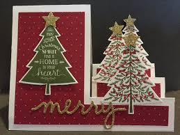 christmas card using stampin u0027 up peaceful pines stamp set and