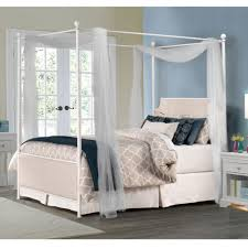 Upholstered Canopy Bed Mcarthur Iron Upholstered Canopy Bed In Oatmeal Linen Humble Abode