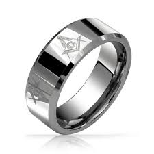 beveled ring freemason masonic mens tungsten band ring beveled edge 8mm