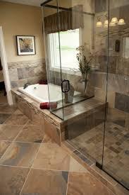 stone bathroom floor glass shower room mix towel bar stainless