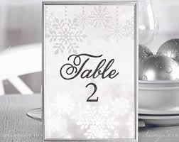 winter table numbers etsy