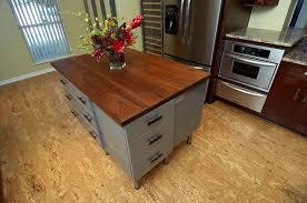 island teak countertop cork floor wine refrigerator