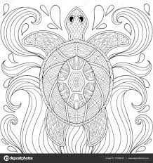 zentangle turtle in waves freehand sketch for antistress