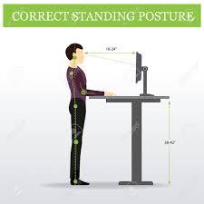 proper standing desk posture ergonomic correct standing posture on height adjustable desk