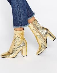 womens boots river island river island river island gold metallic sock boot