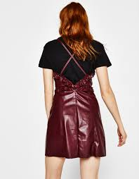faux leather dress with frills party looks bershka singapore